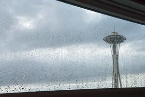 space needle in rain